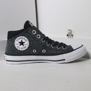 Converse Gray and Black Mid Tops